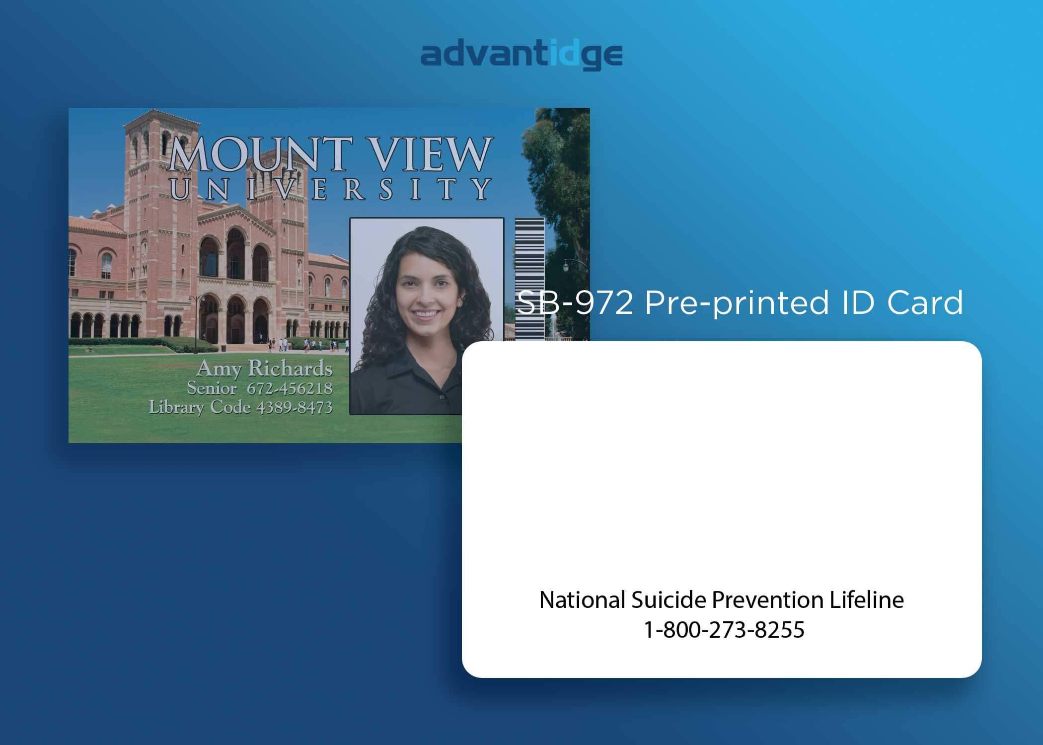 SB-972 Pre-printed ID card